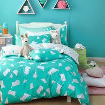 OLIVIA 《 湯姆貓 綠 》 單人兩用被套床包三件組 童趣系列