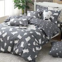 OLIVIA 《 湯姆貓 灰 》 雙人床包枕套三件組 童趣系列