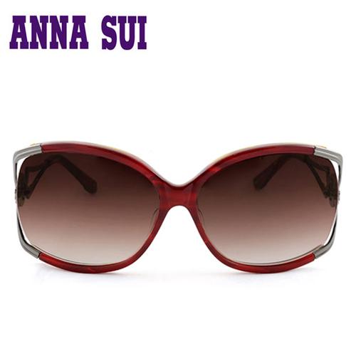Anna Sui 安娜蘇 優雅 金屬鏤空心型太陽眼鏡 紅色 ~ AS852~254
