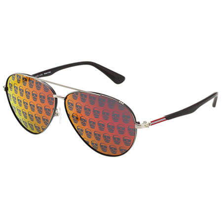 POLICE - 水銀面 骷髏頭造型 雷朋 太陽眼鏡(銀色)