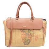 Alviero Martini 義大利地圖包 手提短把附背帶旅行包(大)-地圖黃
