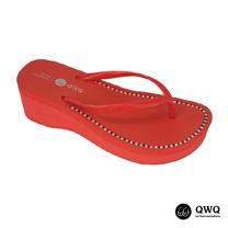 【QWQ】創意設計夾腳拖鞋-璀璨晶鑽-搖滾紅(6cm厚底)