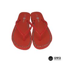 【QWQ】創意設計夾腳拖鞋-璀璨晶鑽-搖滾紅(3cm厚底)