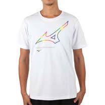 (男女) MIZUNO 台版短袖紀念服-大LOGO-短T T恤 慢跑 紀念T  美津濃 白