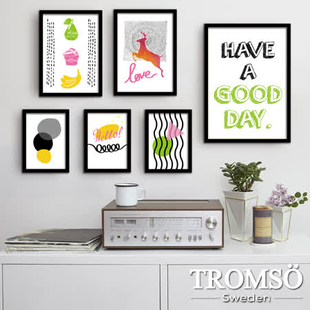 TROMSO風格黑爵特大幅海報相框牆六件組/繽紛享樂