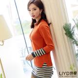 LIYO理優假兩件條紋撞色針織上衣E647003