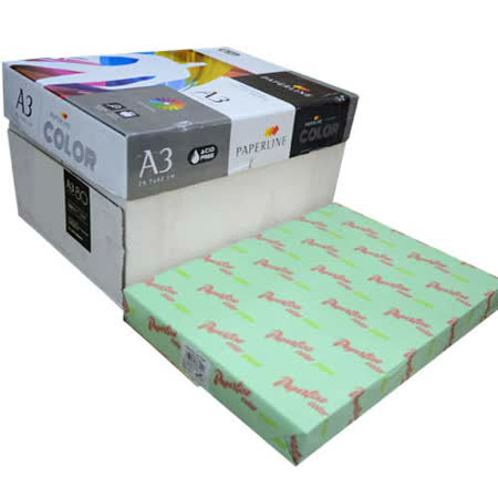 【PAPERLINE】130 / 80P / A3 蘋果綠 進口影印紙 /彩色影印紙  (500張/包)