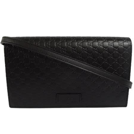 GUCCI 经典双LOGO全皮革斜背式宽版长夹.黑