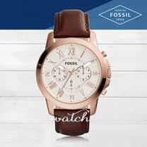 FOSSIL 玫瑰金皮革錶帶防水男錶 FS4991