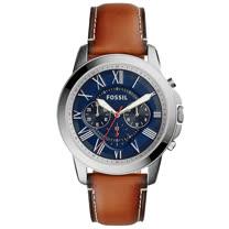 FOSSIL 藍面皮革錶帶防水三眼男錶 FS5210