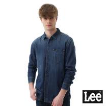 Lee 素面牛仔長袖襯衫-男款-淺藍