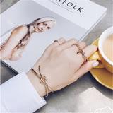 【PS Mall】韓版直運 歐美風簡約手工編織蝴蝶結 打結造型金屬開口手鐲手環 (G2061)