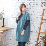 【Tiara Tiara】激安 短袖素面雜訊針織罩衫洋裝(藍)