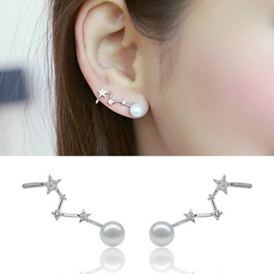925純銀耳環耳針式耳環~ 優雅珍珠 母親節生日情人節 女飾品2色73ag148~米蘭 ~