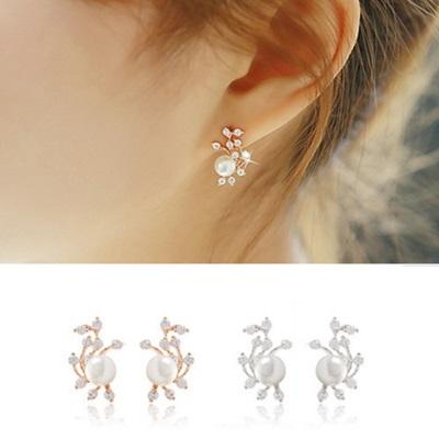 925純銀耳環耳針式耳環~優雅珍珠 氣質母親節生日情人節 女飾品2色73ag158~米蘭