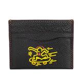 COACH Keith Haring滑板人形黑色全皮雙面名片/票卡夾