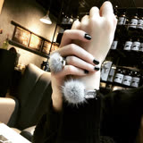 【PS Mall】韓版秋冬水晶水貂毛球系列手鐲戒指 珍珠鑲鑽手環 (G2377)
