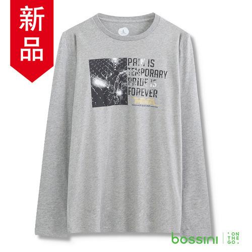 bossini男裝~印花長袖T恤05淺灰