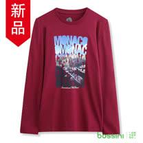 bossini男裝-印花長袖T恤09紫紅