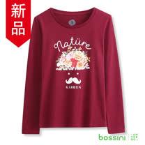 bossini女裝-印花長袖T恤09紫紅