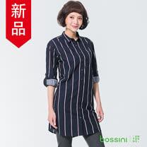 bossini女裝-長版直條長袖襯衫海軍藍
