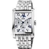 ORIS Rectangular 月相經典機械錶-白/33x46mm 0158176584071-0782382