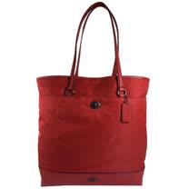 COACH 馬車LOGO尼龍皮革拼接肩背直式購物包.紅