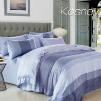 《KOSNEY 麻趣布洛-藍》加大100%天絲全舖棉四件式兩用被冬包組
