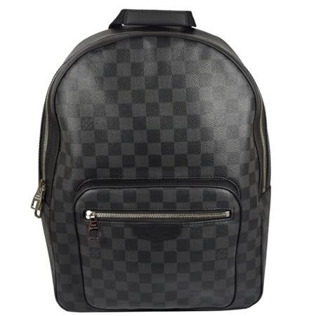 Louis Vuitton LV Josh 黑棋盘格纹皮拼接后背包 现货