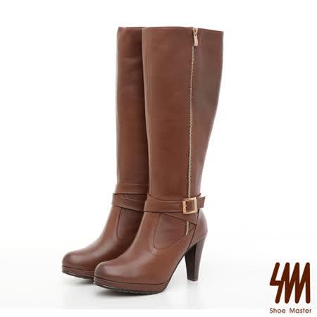 【SM】台灣製全真皮-經典交叉飾帶高跟長靴-棕色