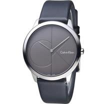 Calvin Klein minimal 大CK 簡約時尚腕錶  K3M211C3   40mm 深灰