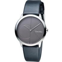 Calvin Klein minimal 大CK 簡約時尚腕錶 K3M221C3  35mm深灰