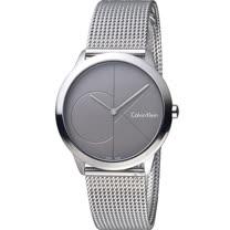 Calvin Klein minimal 大CK 簡約時尚米蘭錶帶腕錶 K3M22123  35mm深灰