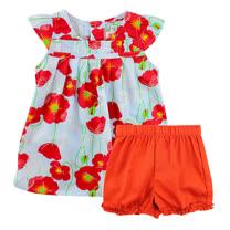 【愛的世界】SUPERMINI 快樂花園系列純棉圓領罌粟花半袖套裝/6個月~2歲-台灣製-