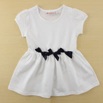 【愛的世界】SUPERMINI 快樂花園系列純棉圓領蝴蝶結網點短袖洋裝/1~3歲-台灣製-