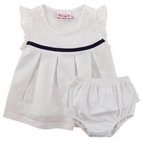 【愛的世界】SUPERMINI 快樂花園系列純棉圓領荷葉邊網點無袖洋裝/2~3歲-台灣製-