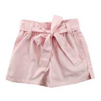 【愛的世界】SUPERMINI 小小花園系列純棉綁帶開衩直條紋短褲/2~4歲-台灣製-