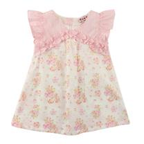 【愛的世界】SUPERMINI 小小花園系列純棉抓皺荷葉邊前襟花卉半袖洋裝/2~4歲-台灣製-
