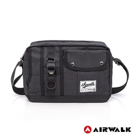 AIRWALK - 都會極簡多功能口袋肩斜二用包-灰