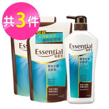 Essentia逸萱秀 瞬效水潤易潔淨洗髮乳3件組 (瓶裝700ml+補充包550mlx2)