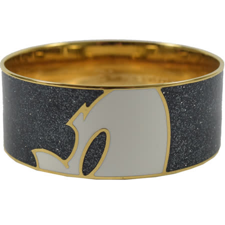 COACH 限量米奇造型圖案寬版時尚手環.黑