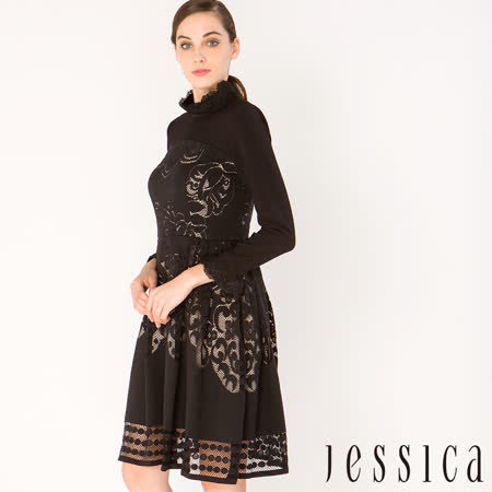JESSICA - 華美風尚簍空蕾絲修身洋裝(黑)