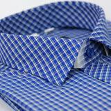 【金安德森】藍格白線門襟斜格窄版長袖襯衫