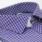 【金安德森】紫格白線門襟斜格窄版長袖襯衫
