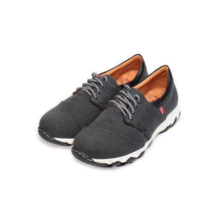 (男) ZOBR 牛仔布面綁帶休閒鞋 牛仔黑 男鞋 鞋全家福
