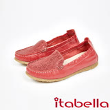 itabella.拼接爆裂紋休閒鞋(7569-60紅)