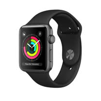 Apple Watch Series 3 GPS,42 公釐太空灰色鋁金屬錶殼搭配黑色運動型錶帶 _ 【贈專用螢幕保貼 + 保護套】