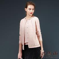 【麥雪爾】多彩麻花捲羊毛針織外套-粉