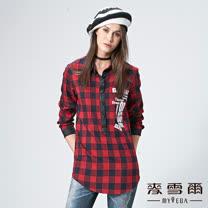 【麥雪爾】純棉皮革拼接格紋文字上衣