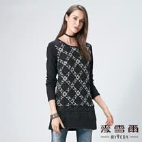 【麥雪爾】立體織紋菱格蕾絲棉質上衣